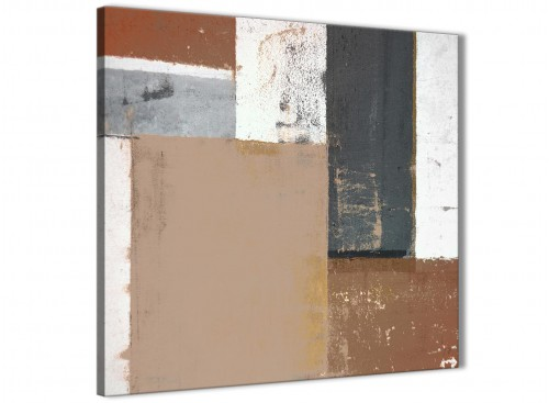 Modern Brown Beige Grey Abstract Painting Wall Art Print Canvas Modern 49cm Square 1S335S For Your Living Room