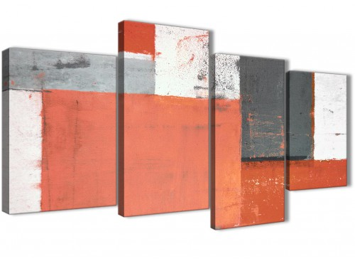Oversized Large Coral Grey Abstract Painting Canvas Wall Art Pictures Split 4 Set 130cm Wide 4336 For Your Dining Room
