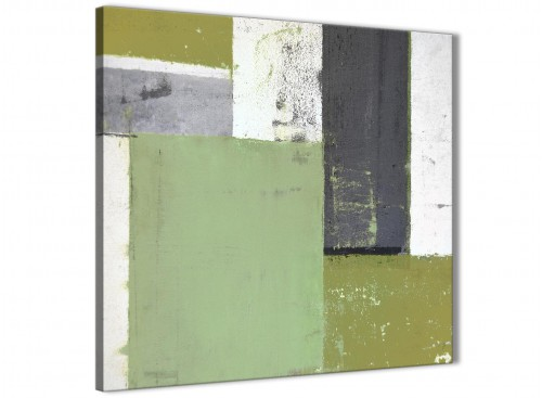 Modern Green Grey Abstract Painting Canvas Wall Art Pictures Modern 79cm Square 1S337L For Your Hallway