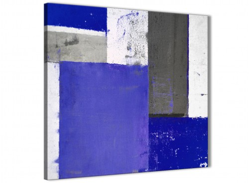 Modern Indigo Navy Blue Abstract Painting Canvas Wall Art Print Modern 79cm Square 1S338L For Your Living Room