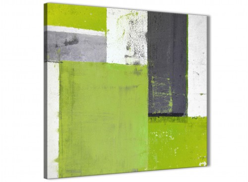 Modern Lime Green Grey Abstract Painting Canvas Wall Art Print Modern 64cm Square 1S339M For Your Living Room