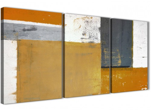 Oversized Orange Grey Abstract Painting Canvas Wall Art Print Split 3 Piece 125cm Wide 3341 For Your Living Room