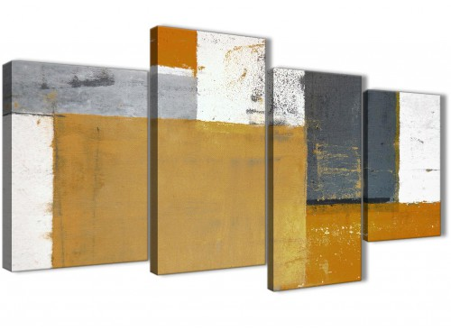 Oversized Large Orange Grey Abstract Painting Canvas Wall Art Print Split 4 Set 130cm Wide 4341 For Your Dining Room