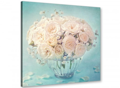 chic duck egg blue and white roses flowers floral canvas modern 64cm square 1s286m for your living room