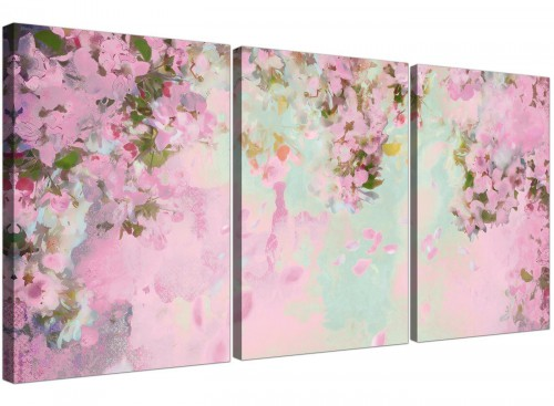 cheap shabby chic pale dusky pink flowers floral canvas multi set of 3 3281 for your bedroom