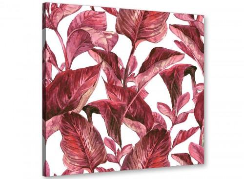 Dark Burgundy Red White Tropical Leaves Canvas Wall Art