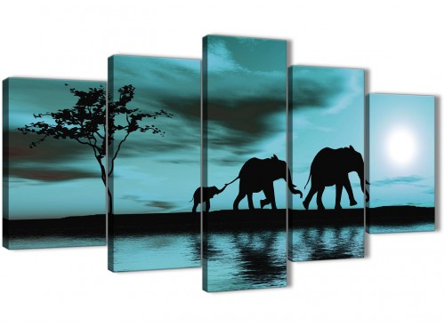 Oversized Extra Large Teal African Sunset Elephants Canvas Wall Art Print Split 5 Piece 160cm Wide For Your Dining Room-5362