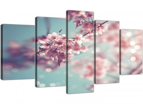 cheap extra large duck egg blue pink shabby chic blossom floral canvas split 5 set 5280 for your office