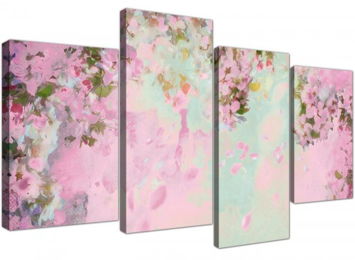 cheap large shabby chic pale dusky pink flowers floral canvas multi 4 set 4281 for your bedroom