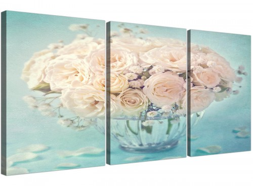 Duck Egg Blue & White Roses Flowers Floral Shabby Chic Floral Canvas Modern