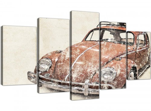 cheap extra large vw beetle bug rat look surfer brown volkswagen lifestyle canvas split 5 panel 5279 for your office