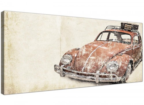 VW Beetle Rat Look Surfer Brown Bug Abstract Canvas