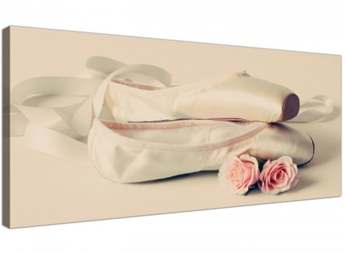 Ballet Shoes Pink Cream Shabby Chic Canvas