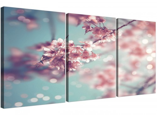 cheap duck egg blue pink shabby chic blossom floral canvas split 3 piece 3280 for your bedroom