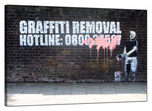 Banksy Canvas Pictures - Boy Child Painting Over Graffiti Removal Hotline - Urban Art