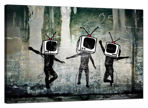 Banksy Modern TV Heads Canvas Art Print