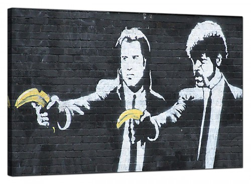 Banksy Canvas Pictures - Pulp Fiction With Bananas Instead of Guns - Urban Art