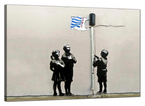 Banksy Canvas Pictures - Tesco Generation Bag Flag Very Little Helps - Urban Art