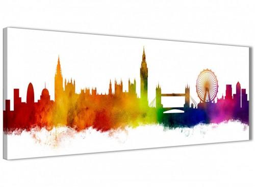 Funky Multi-Coloured London Skyline Canvas Wall Art Print