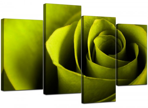 Set Of 4 Living-Room Green Canvas Wall Art
