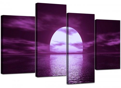 Set Of 4 Modern Purple Canvas Prints