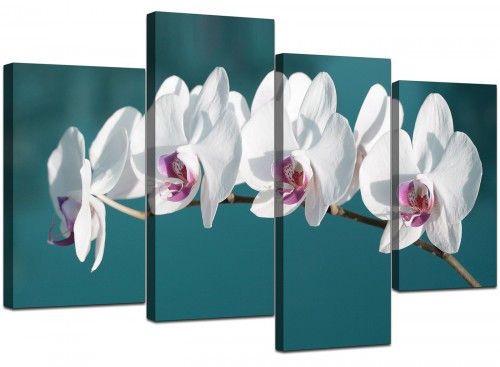 4 Part Set of Living-Room Teal Canvas Pictures