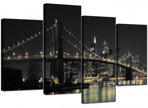 Four Part Set of Cheap Black White Canvas Art