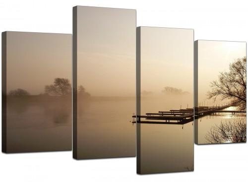 Set Of Four Modern Brown Canvas Art