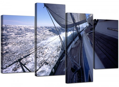 Four Panel Set of Living-Room Blue Canvas Wall Art