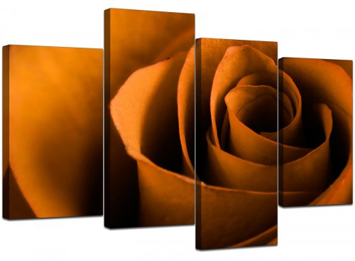 Set Of Four Cheap Orange Canvas Picture