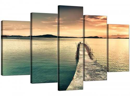 Sunset Jetty Pier Blue Lake View Landscape Canvas Art