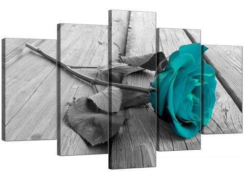 Teal Rose Grey Black White Flower Floral Canvas