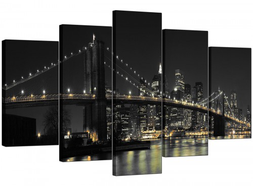 Set Of 5 Living-Room Black White Canvas Pictures