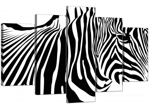 Set Of 5 Modern Black White Canvas Art