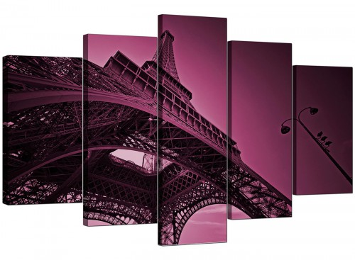 Set Of Five Living-Room Plum Canvas Pictures