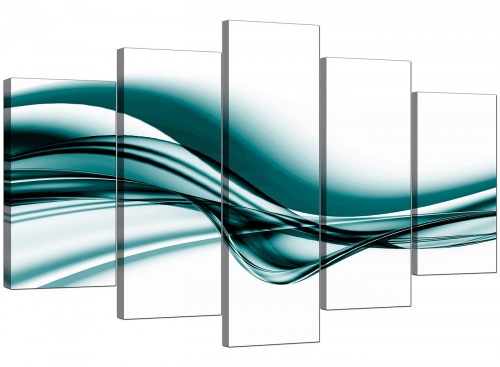 Teal and White Wave Abstract Canvas Wall Art