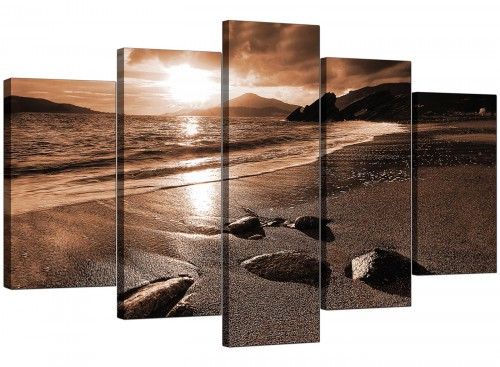 Five Panel Set of Living-Room Brown Canvas Picture