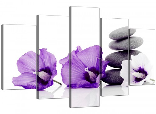 Five Part Set of Living-Room Purple Canvas Picture