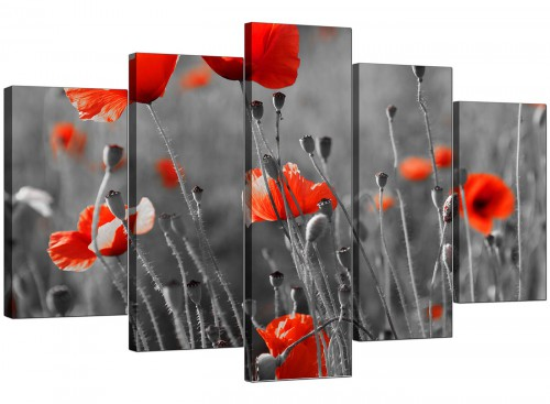 5 Panel Set of Living-Room Red Canvas Picture