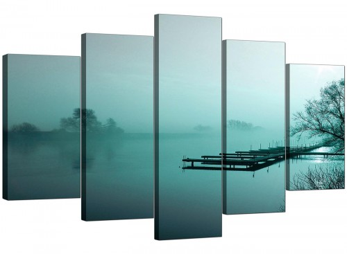 5 Part Set of Living-Room Teal Canvas Prints