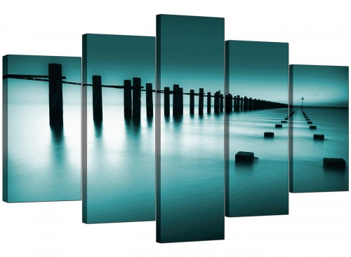 Five Panel Set of Extra-Large Teal Canvas Wall Art