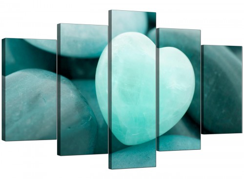 Set Of Five Extra-Large Teal Canvas Art