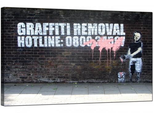 Banksy Graffiti Removal Hotline Modern Canvas Art