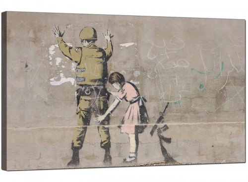 Banksy Girl Searches a Soldier Modern Canvas Art