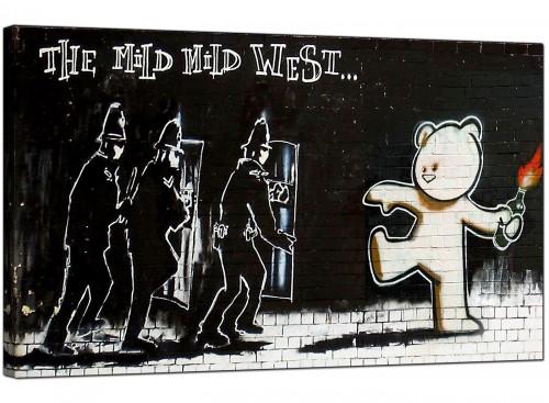 Banksy Canvas Pictures - Mild Mild West Teddy Bear Bomber - Urban Art