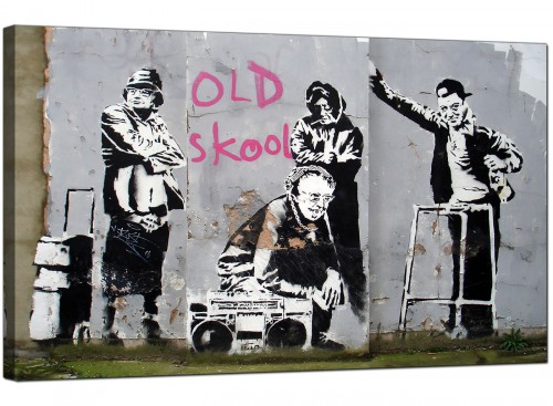 Banksy Canvas Pictures - Old Skool B Boy Grannies - Urban Art