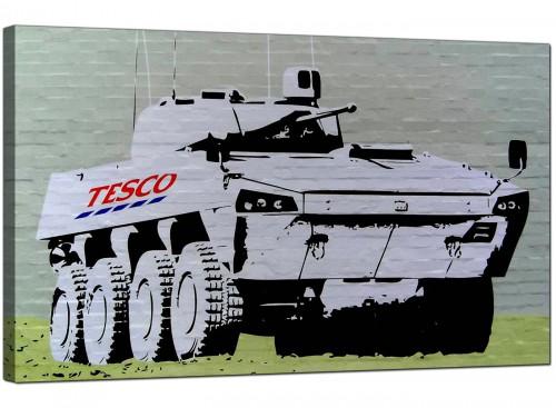 Banksy Canvas Pictures - Tesco Tank Eight Wheel Armoured Car - Urban Art