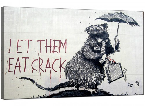Banksy Canvas Pictures - Wall Street Rat Banker Let Them Eat Crack - Urban Art