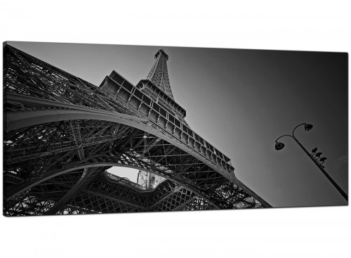 Black-White Living Room Extra Large Canvas of Eiffel Tower