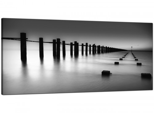Modern Black White Beach Scenery Landscape Canvas